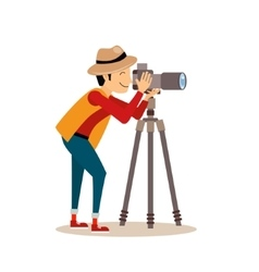 Photographer with tripod in flat style vector