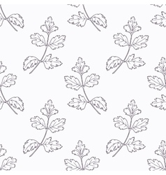 Hand drawn parsley branch outline seamless pattern vector