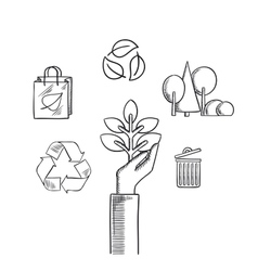 Environment ecology and save nature sketch icons vector