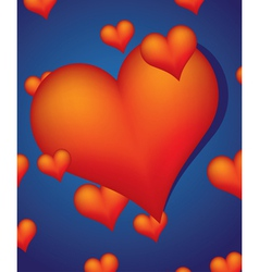 red hearts on blue background vector image