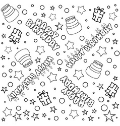 Happy birthday pattern lineart vector