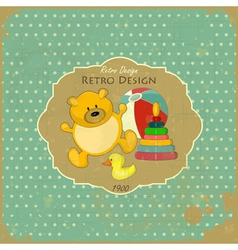 Old Toys on Vintage Background vector image