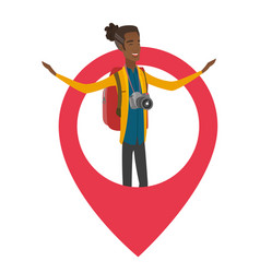 African traveler standing in a big map pointer vector