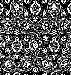 Black and white seamless abstract floral backgroun vector