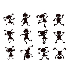 black cartoon kids silhouette vector image vector image