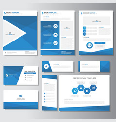 Blue business presentation templates infographic vector