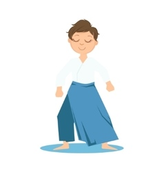 Boy in wide trousers doing zen relaxed stance on vector