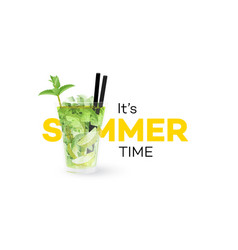 classic mojito coctail isolated on white vector image vector image