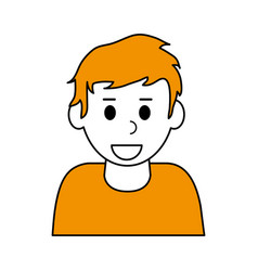 Color contour cartoon half body blonded man with t vector
