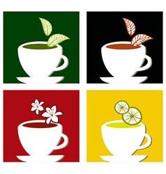 colorful square tea labels composition vector image