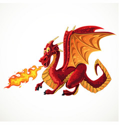 Fabulous magical red fire-spitting dragon vector
