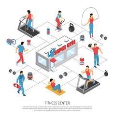 Fitness center isometric flowchart poster vector