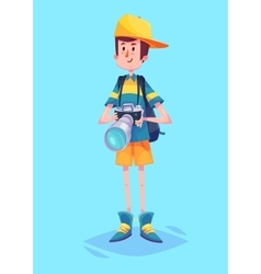 Funny of ptotographer or tourist vector image vector image