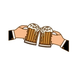 glasses of beers in the hand icon design vector image vector image