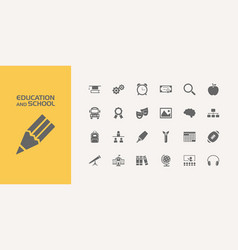Group of twenty education and school icons vector