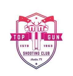 Gun club vintage logo emblem with revolvers vector