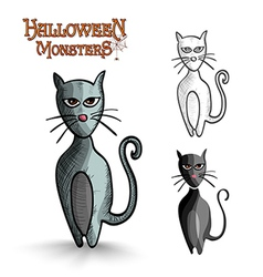 Halloween monsters scary cartoon black cat eps10 vector