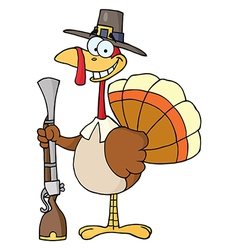 Happy turkey with pilgrim hat and musket vector