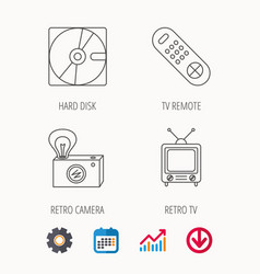Hard disk retro camera and tv remote icons vector