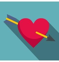 Heart pierced by cupid arrow icon flat style vector