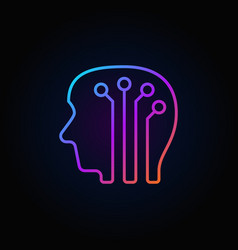 Human head with digital brain colorful icon - vector