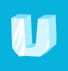 letter u ice font icicles alphabet freeze vector image