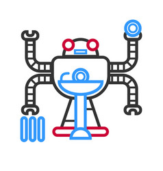 Multitasking futuristic droid vector