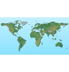 pixel physical map of the world vector image