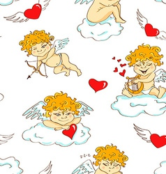 Seamless pattern with funny cartoon cupids vector