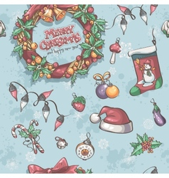 Seamless texture with Christmas wreath garlands vector image