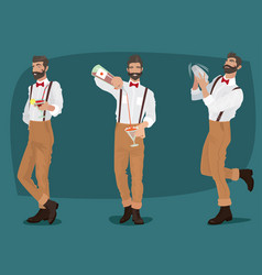 set of three mustachioed hipster bartenders vector image vector image