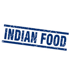 Square grunge blue indian food stamp vector