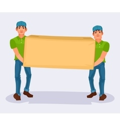 Two men carries a cardboard box vector