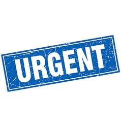 Urgent blue square grunge stamp on white vector