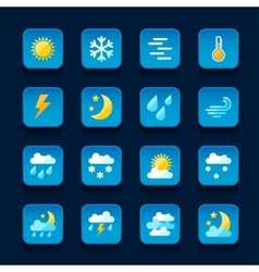 Weather icons set in flat design style vector image