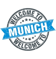 Welcome to munich blue round vintage stamp vector
