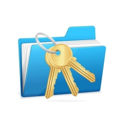 Yellow computer folder and key vector image vector image