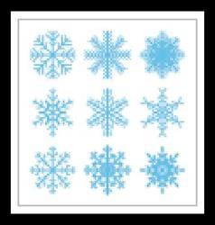 Set of geometric snowflakes with inticate patterns vector