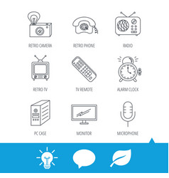 retro camera radio and phone call icons vector image