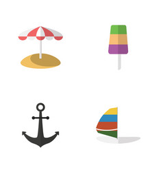 flat beach set of ship hook parasol sundae and vector image