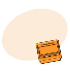 tv game cartridge in plastic orange case from 90s vector image