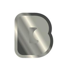 letter b steel font metal alphabet sign iron abc vector image