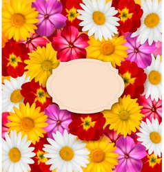 Flower background with a sign vector