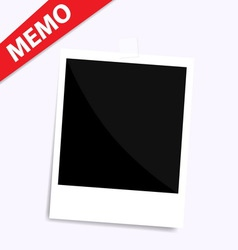 Memo polaroid photo on wall isolated vector