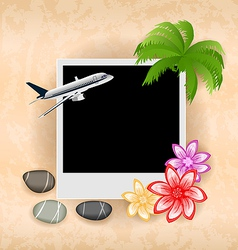 Photo frame with plane palm flowers sea pebbles vector