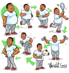 Man achieving his weight-loss goal vector