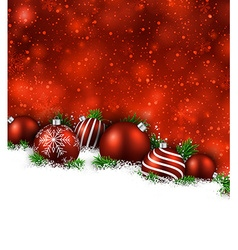 Red winter background with christmas balls vector