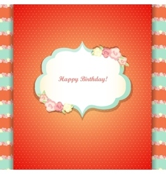Cute orange and mint happy birthday card vector