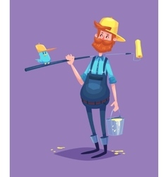 Funny of painter cartoon character vector