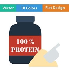 Flat design icon of protein conteiner vector